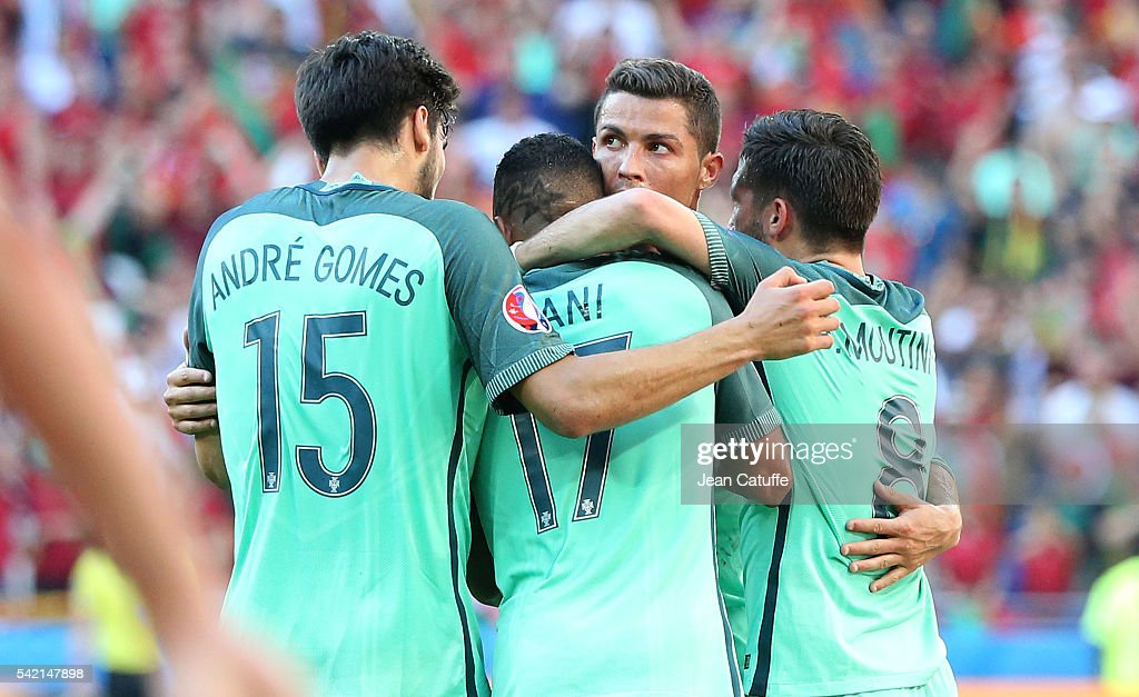 Cristiano Ronaldo of Portugal celebrates Nani's goal during the UEFA EURO 2016 Group F match between Hungary and Portugal at Stade des Lumieres on...