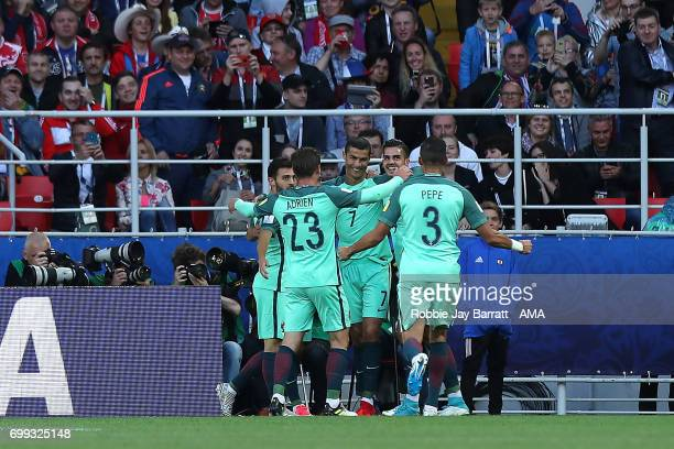 Cristiano Ronaldo of Portugal celebrates scoring a goal to make the score 01 with his teammates during the FIFA Confederations Cup Russia 2017 Group...