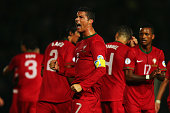 Cristiano Ronaldo of Portugal celebrates scoring during the FIFA 2014 World Cup Qualifying Group F match between Northern Ireland and Portugal at...