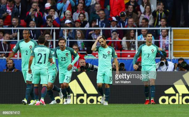 Cristiano Ronaldo of Portugal celebrates scoring his sides first goal during the FIFA Confederations Cup Russia 2017 Group A match between Russia and...