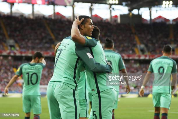 Cristiano Ronaldo of Portugal celebrates scoring his sides first goal with his Portugal team mates during the FIFA Confederations Cup Russia 2017...