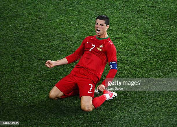 Cristiano Ronaldo of Portugal celebrates scoring his team's second goal during the UEFA EURO 2012 group B match between Portugal and Netherlands at...