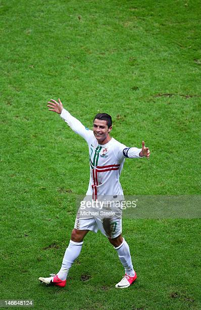 Cristiano Ronaldo of Portugal celebrates scoring the opening goal with a header during the UEFA EURO 2012 quarter final match between Czech Republic...