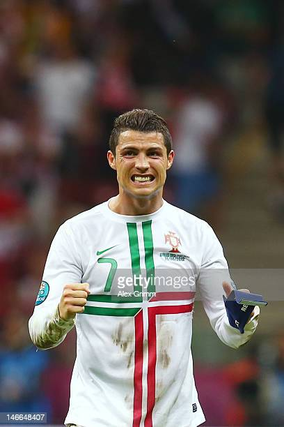 Cristiano Ronaldo of Portugal celebrates victory and progress to the semifinals during the UEFA EURO 2012 quarter final match between Czech Republic...