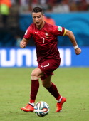 Cristiano Ronaldo of Portugal controls the ball during the 2014 FIFA World Cup Brazil Group G match between the United States and Portugal at Arena...