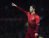 Cristiano Ronaldo of Portugal gestures during the International Friendly between Argentina and Portugal at Old Trafford on November 18 2014 in...