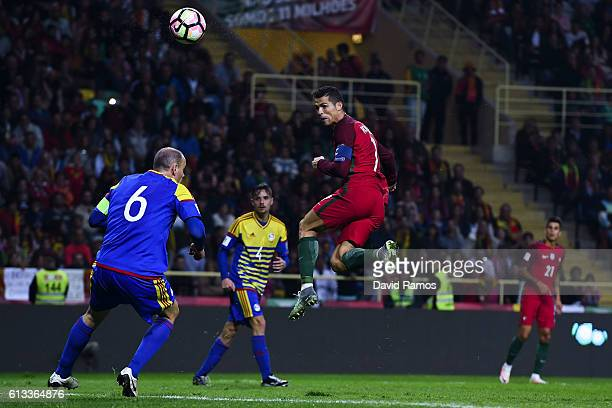 Cristiano Ronaldo of Portugal heada the ball during the FIFA 2018 World Cup Qualifier between Portugal and Andorra at Estadio Municipal de Aveiro on...