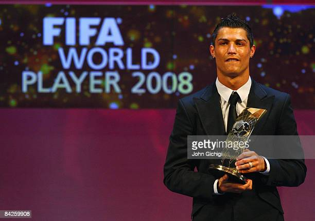 Cristiano Ronaldo of Portugal holds the trophy as he wins The FIFA World Player Of The Year 2008 at the Zurich Opera House on January 12 2009 in...