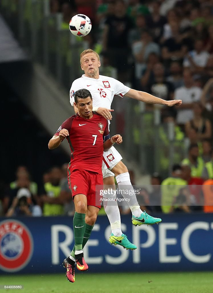Cristiano Ronaldo (7) of Portugal in action against Kamil Glik (15) of Poland during the Euro 2016 quarter-final football match between Poland and Portugal at the Stade Velodrome in Marseille, France on June 30, 2016.