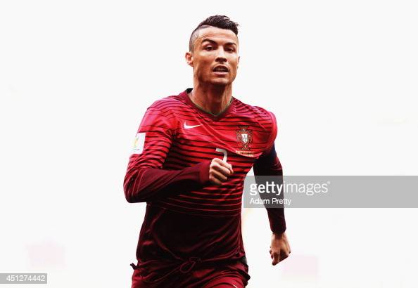 Cristiano Ronaldo of Portugal in action during the 2014 FIFA World Cup Brazil Group G match between Portugal and Ghana at Estadio Nacional on June 26...