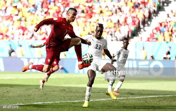 Cristiano Ronaldo of Portugal in action during the 2014 FIFA World Cup Brazil Group G match between Portugal v Ghana at Estadio Nacional on June 26...