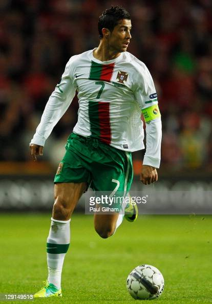 Cristiano Ronaldo of Portugal in action during the EURO 2012 group H qualifier match between Denmark and Portugal at Parken Stadium on October 11...