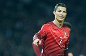Cristiano Ronaldo of Portugal in action during the international friendly football match between Argentina and Portugal at Old Trafford in Manchester...