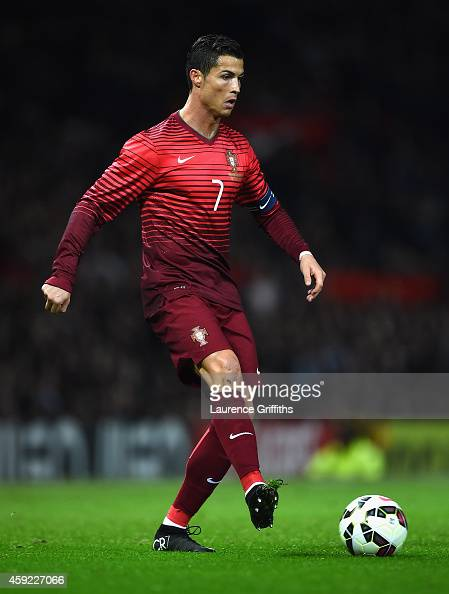 Cristiano Ronaldo of Portugal in action during the International Friendly match between Argentina and Portugal at Old Trafford on November 18 2014 in...