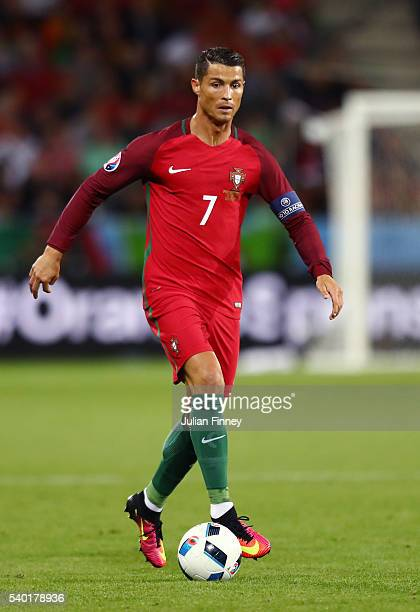 Cristiano Ronaldo of Portugal in action during the UEFA EURO 2016 Group F match between Portugal and Iceland at Stade GeoffroyGuichard on June 14...