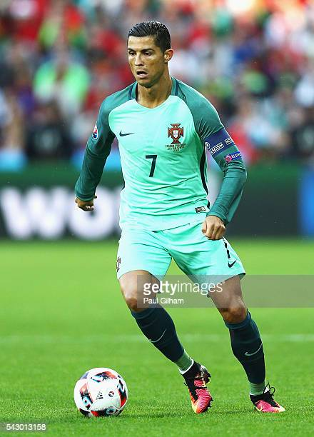Cristiano Ronaldo of Portugal in action during the UEFA EURO 2016 round of 16 match between Croatia and Portugal at Stade BollaertDelelis on June 25...