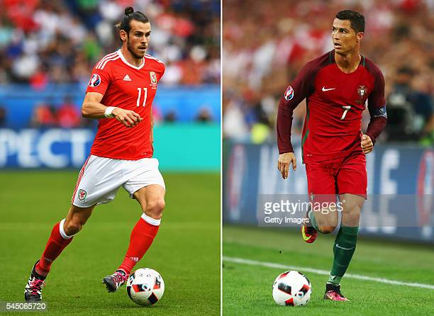 COMPOSITE OF TWO IMAGES Image numbers 542986656 and 543947200 In this composite image a comparision has been made between Gareth Bale of Wales and...