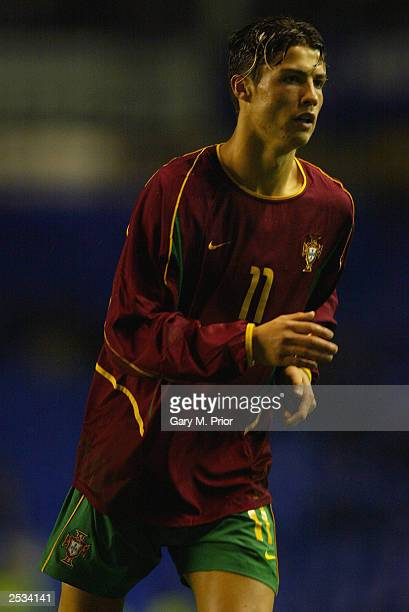 Cristiano Ronaldo of Portugal in action during the UEFA European Under21 Championships 2004 Group 7 Qualifying match between England Under21 and...