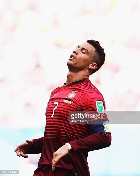 Cristiano Ronaldo of Portugal is dejected during the 2014 FIFA World Cup Brazil Group G match between Portugal and Ghana at Estadio Nacional on June...
