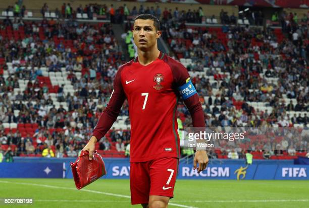 Cristiano Ronaldo of Portugal is seen after exchanging a pennant prior to the FIFA Confederations Cup Russia 2017 SemiFinal between Portugal and...