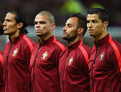 Cristiano Ronaldo of Portugal lines up with his team during the International Friendly between Argentina and Portugal at Old Trafford on November 18...