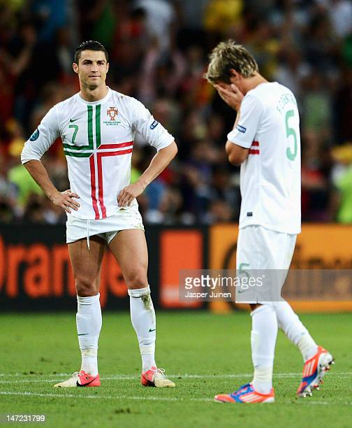Cristiano Ronaldo of Portugal looks dejected after losing a penalty shoot out during the UEFA EURO 2012 semi final match between Portugal and Spain...