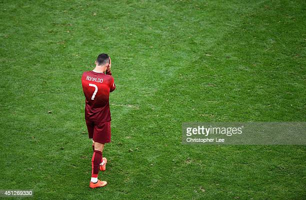 Cristiano Ronaldo of Portugal looks dejected after the 2014 FIFA World Cup Brazil Group G match between Portugal and Ghana at Estadio Nacional on...