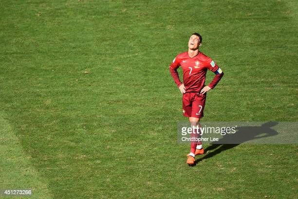 Cristiano Ronaldo of Portugal looks dejected during the 2014 FIFA World Cup Brazil Group G match between Portugal and Ghana at Estadio Nacional on...