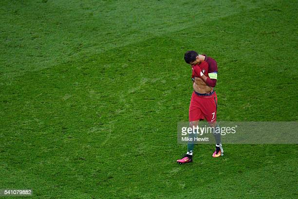 Cristiano Ronaldo of Portugal looks dejected during the UEFA EURO 2016 Group F match between Portugal and Austria at Parc des Princes on June 18 2016...