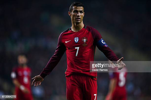 Cristiano Ronaldo of Portugal looks on during the FIFA 2018 World Cup Qualifier between Portugal and Andorra at Estadio Municipal de Aveiro on...