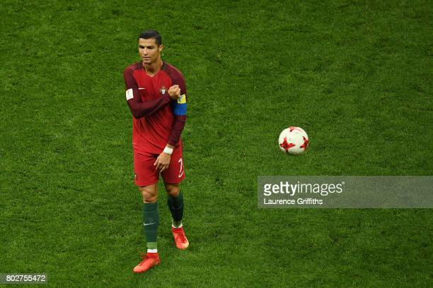 Cristiano Ronaldo of Portugal looks on during the FIFA Confederations Cup Russia 2017 SemiFinal between Portugal and Chile at Kazan Arena on June 28...