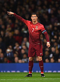 Cristiano Ronaldo of Portugal looks on during the International Friendly match between Argentina and Portugal at Old Trafford on November 18 2014 in...