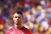 Cristiano Ronaldo of Portugal looks on prior during the 2014 FIFA World Cup Brazil Group G match between Portugal v Ghana at Estadio Nacional on June...