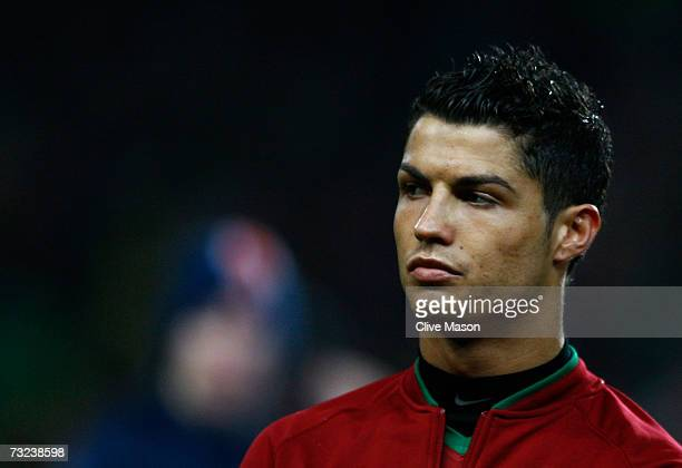 Cristiano Ronaldo of Portugal looks on prior to the International friendly match between Brazil and Portugal at the Emirates Stadium on February 6...