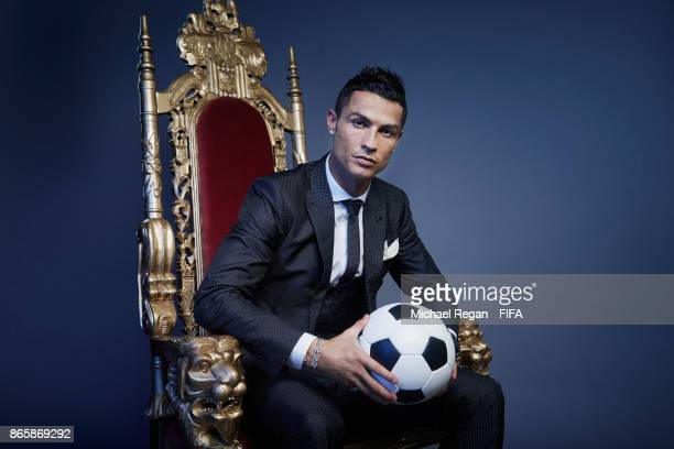 Cristiano Ronaldo of Portugal poses after The Best FIFA Football Awards at the London Palladium on October 23 2017 in London England