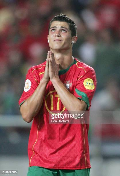 Cristiano Ronaldo of Portugal praying for a goal during the UEFA Euro 2004 Final match between Portugal and Greece at the Luz Stadium on July 4 2004...