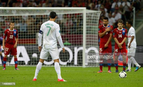 Cristiano Ronaldo of Portugal prepares for a free kick during the UEFA EURO 2012 quarter final match between Czech Republic and Portugal at The...
