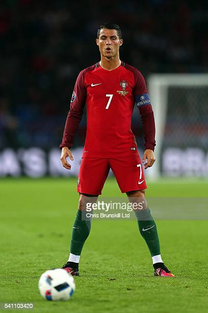 Cristiano Ronaldo of Portugal prepares to take a freekick during the UEFA Euro 2016 Group F match between the Portugal and Austria at Parc des...