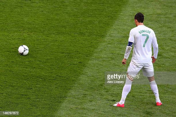L'VIV UKRAINE JUNE 13 Cristiano Ronaldo of Portugal prepares to take freekick during the UEFA EURO 2012 group B match between Denmark and Portugal at...