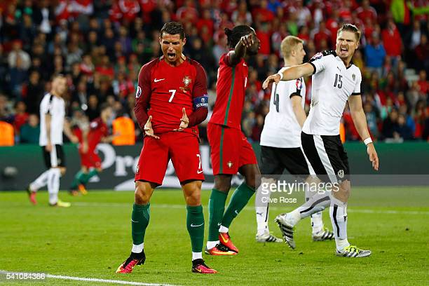 Cristiano Ronaldo of Portugal reacts after he has a goal disallowed during the UEFA EURO 2016 Group F match between Portugal and Austria at Parc des...