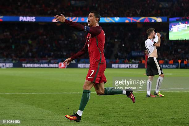 Cristiano Ronaldo of Portugal reacts after his goal was disallowed for offside during the UEFA Euro 2016 Group F match between the Portugal and...