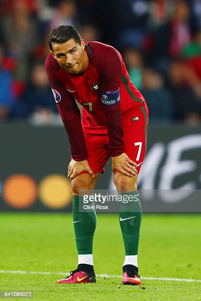 Cristiano Ronaldo of Portugal reacts after missing a penalty during the UEFA EURO 2016 Group F match between Portugal and Austria at Parc des Princes...