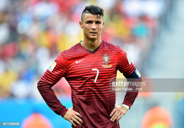 Cristiano Ronaldo of Portugal reacts after the 2014 FIFA World Cup Brazil Group G match between Portugal and Ghana at Estadio Nacional on June 26...