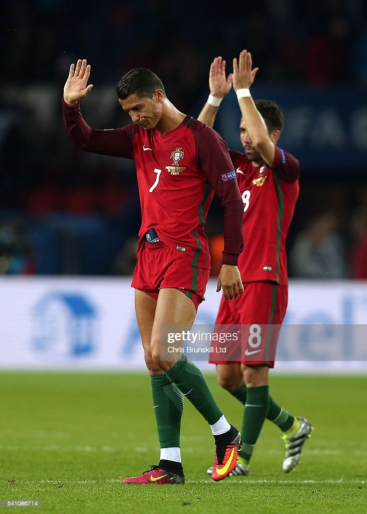 Cristiano Ronaldo of Portugal reacts at full-time following the UEFA Euro 2016 Group F match between the Portugal and Austria at Parc des Princes on June 18, 2016 in Paris, France.