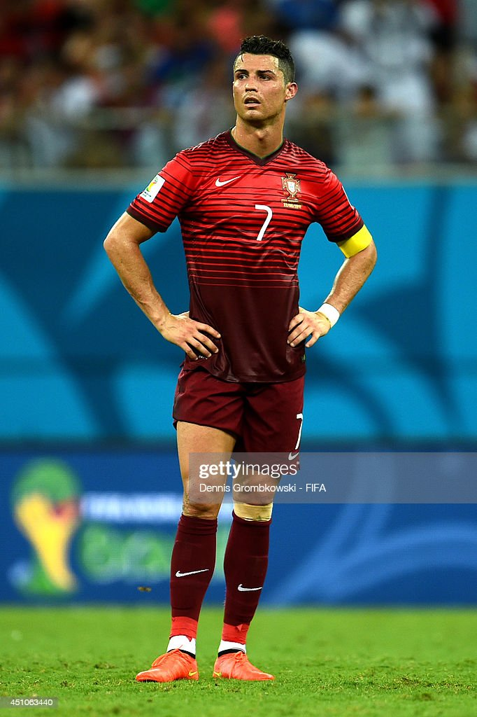 <a gi-track='captionPersonalityLinkClicked' href=/galleries/search?phrase=Cristiano+Ronaldo+-+Soccer+Player&family=editorial&specificpeople=162689 ng-click='$event.stopPropagation()'>Cristiano Ronaldo</a> of Portugal reacts during the 2014 FIFA World Cup Brazil Group G match between USA and Portugal at Arena Amazonia on June 22, 2014 in Manaus, Brazil.