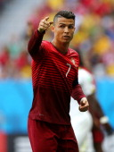 Cristiano Ronaldo of Portugal reacts during the 2014 FIFA World Cup Brazil Group G match between Portugal and Ghana at Estadio Nacional on June 26...