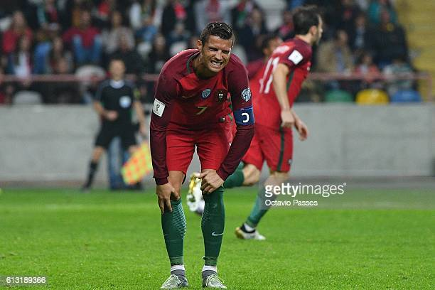 Cristiano Ronaldo of Portugal reacts during the 2018 FIFA World Cup Qualifiers Group B first leg match between Portugal and Andorra at the Aveiro...