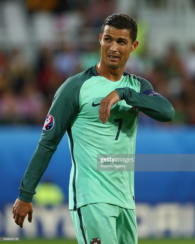 Cristiano Ronaldo of Portugal reacts during the Euro 2016 round of 16 football match between Croatia and Portugal at Stade Bollaert-Delelis in Lens, France on June 25, 2016.