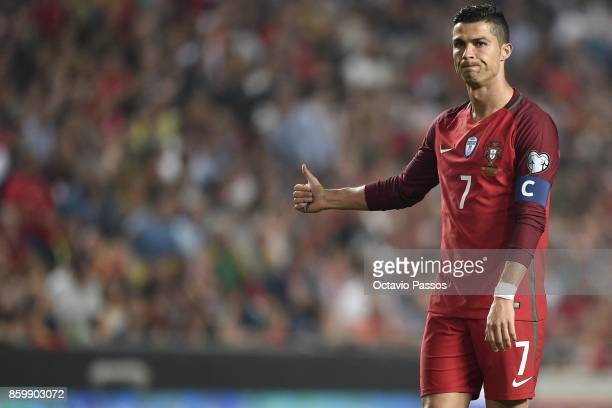 Cristiano Ronaldo of Portugal reacts during the FIFA 2018 World Cup Qualifier between Portugal and Switzerland at the Luz Stadium on October 10 2017...