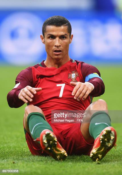 Cristiano Ronaldo of Portugal reacts during the FIFA Confederations Cup Russia 2017 Group A match between Portugal and Mexico at Kazan Arena on June...